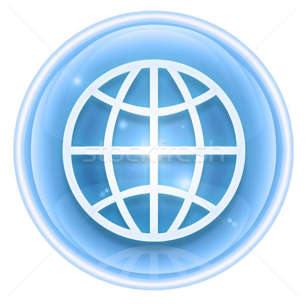 Stock fotó: Világ · ikon · jég · izolált · fehér · számítógép