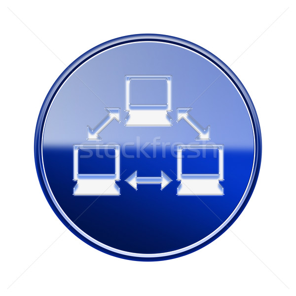 Network icon glossy blue, isolated on white background. Stock photo © zeffss