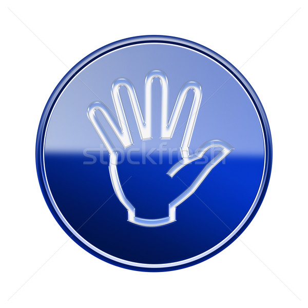 hand icon glossy blue, isolated on white background. Stock photo © zeffss