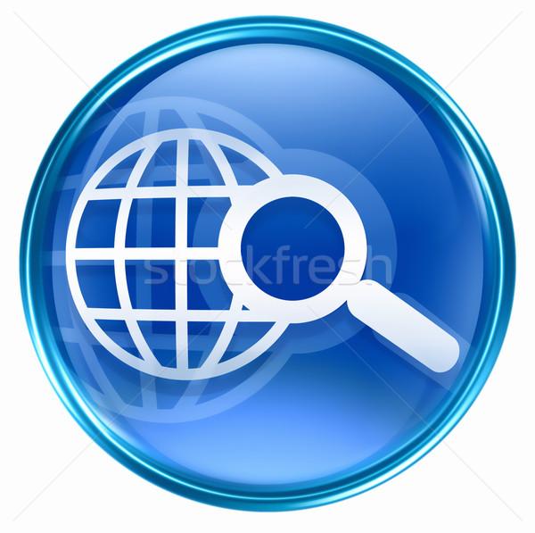 Stockfoto: Zoek · vergrootglas · icon · Blauw · geïsoleerd · witte