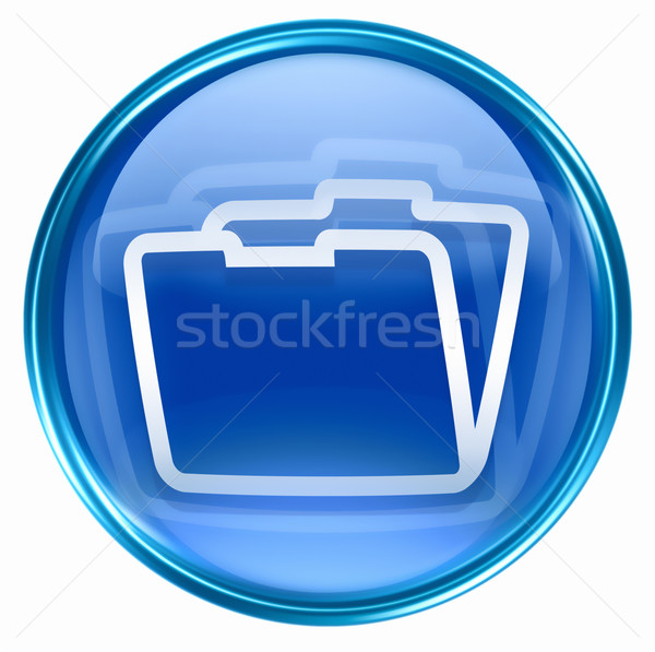 Map icon Blauw geïsoleerd witte business Stockfoto © zeffss