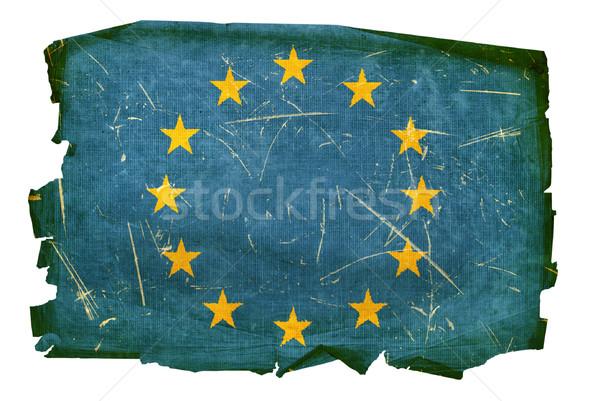 Stock fotó: Európa · zászló · öreg · izolált · fehér · terv
