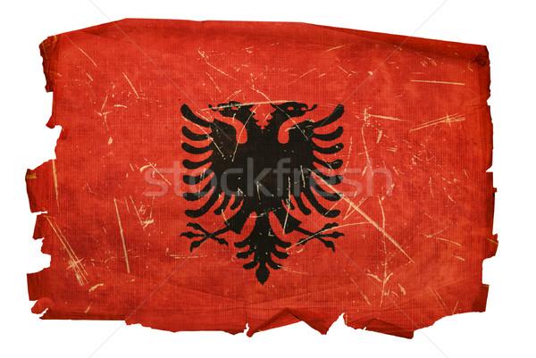 Albania Flag old, isolated on white background. Stock photo © zeffss