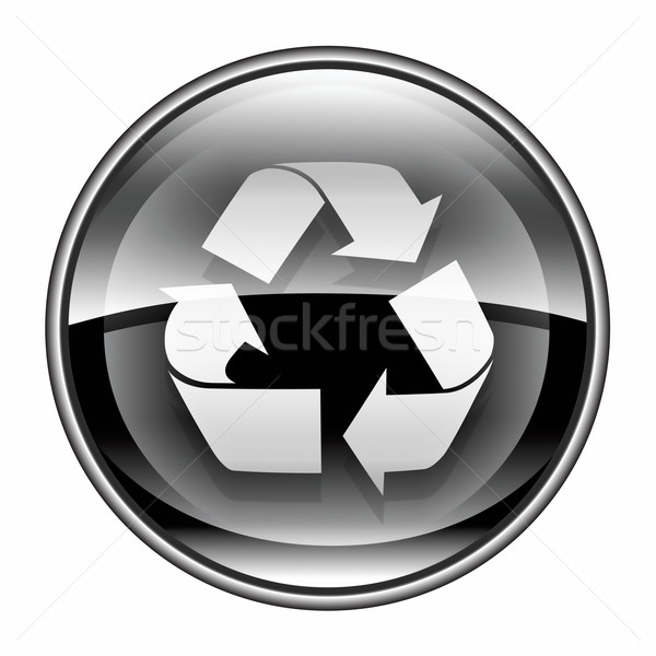 Recycling symbol icon black, isolated on white background. Stock photo © zeffss