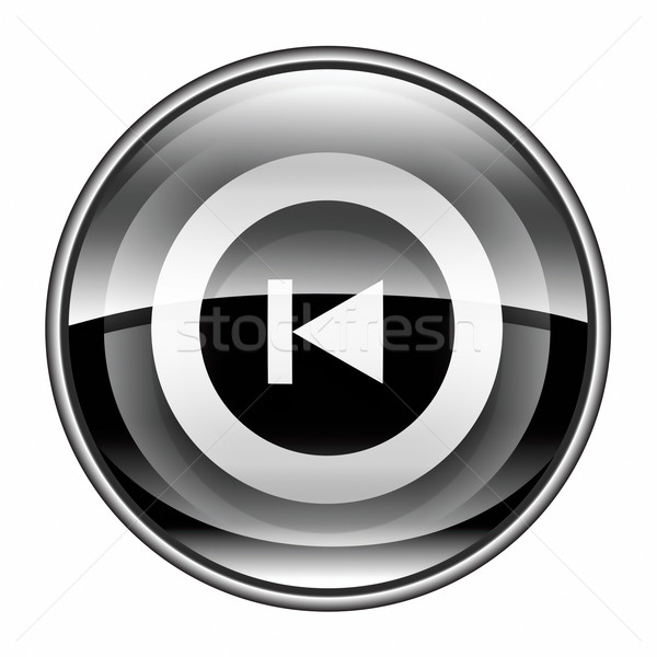 Rewind Back icon black, isolated on white background. Stock photo © zeffss