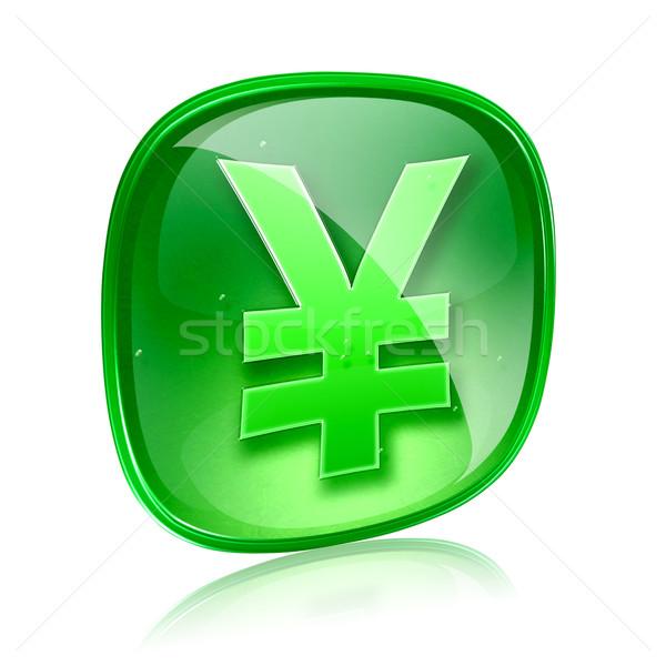Yen icono verde vidrio aislado blanco Foto stock © zeffss