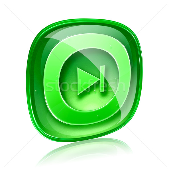 Rewind Forward icon green glass, isolated on white background. Stock photo © zeffss