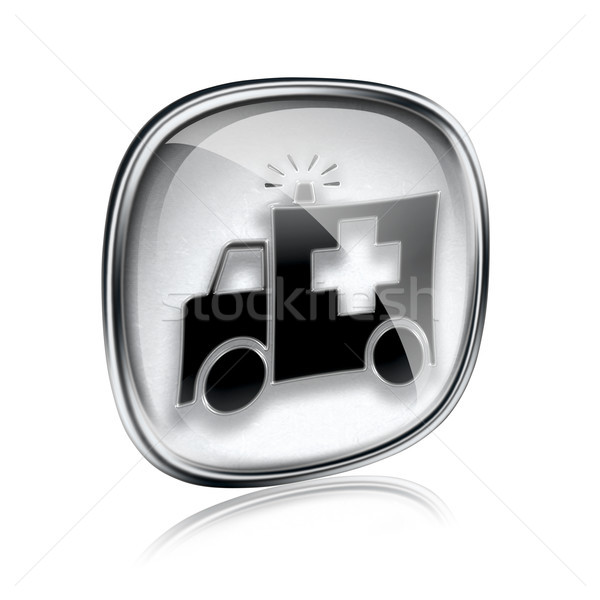 First aid icon grey glass, isolated on white background. Stock photo © zeffss