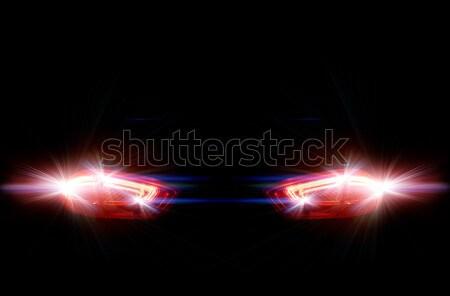 задний автомобилей фары черный дороги улице Сток-фото © zeffss