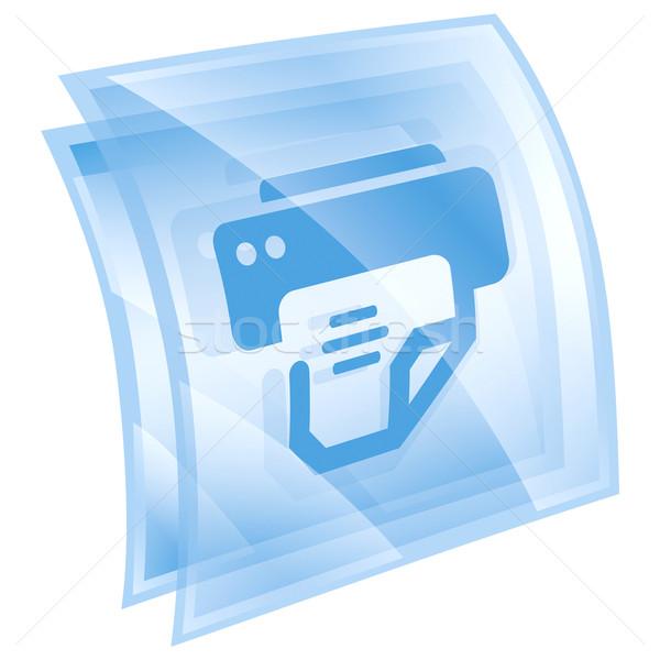 printer icon blue, isolated on white background. Stock photo © zeffss