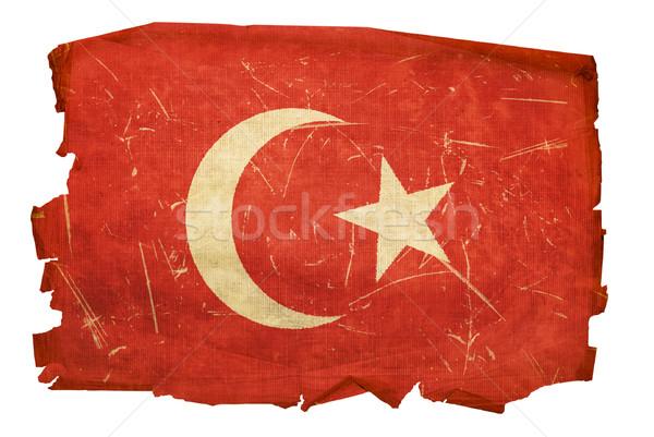 Stock fotó: Törökország · zászló · öreg · izolált · fehér · papír