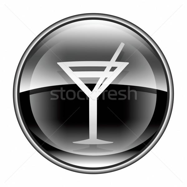 wine-glass icon black, isolated on white background. Stock photo © zeffss