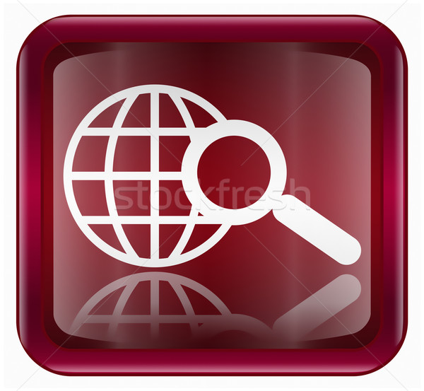 globe and magnifier icon dark red, isolated on white background Stock photo © zeffss