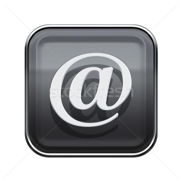 E-mail symbool icon glanzend grijs geïsoleerd Stockfoto © zeffss