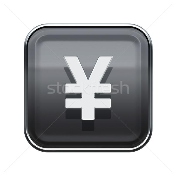 Yen icono gris aislado blanco Foto stock © zeffss