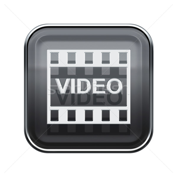 Video icon glossy grey, isolated on white background Stock photo © zeffss