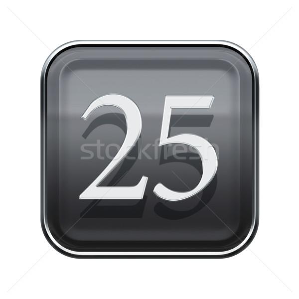Twintig vijf icon grijs glanzend geïsoleerd Stockfoto © zeffss