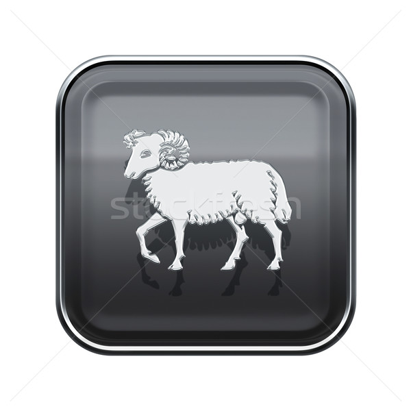 Aries zodiac icon grey, isolated on white background Stock photo © zeffss