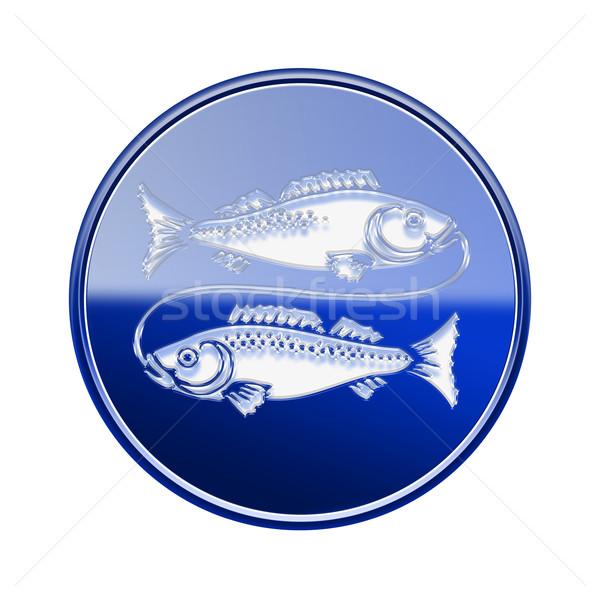 Pisces zodiac icon blue, isolated on white background Stock photo © zeffss
