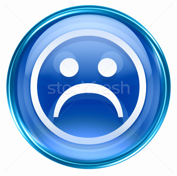 Smiley Face, dissatisfied blue, isolated on white background. Stock photo © zeffss
