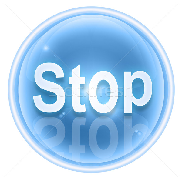 Stop icon ice, isolated on white background Stock photo © zeffss