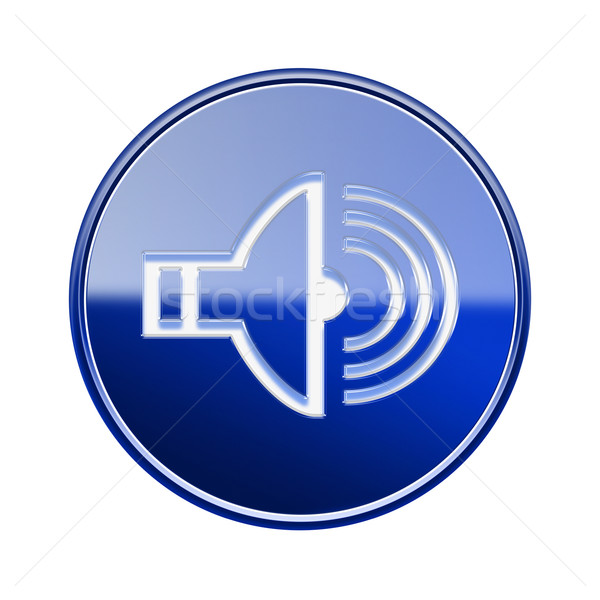 Speaker icon glossy blue, isolated on white background Stock photo © zeffss