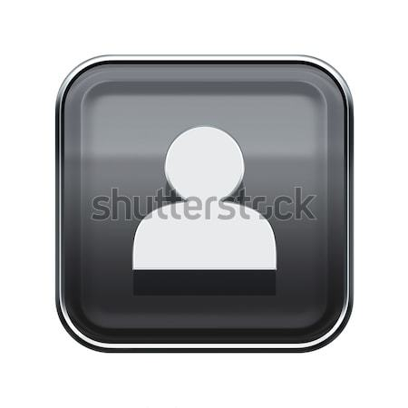 User icon glossy grey, isolated on white background Stock photo © zeffss