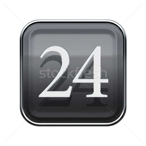 Vinte quatro ícone cinza isolado Foto stock © zeffss