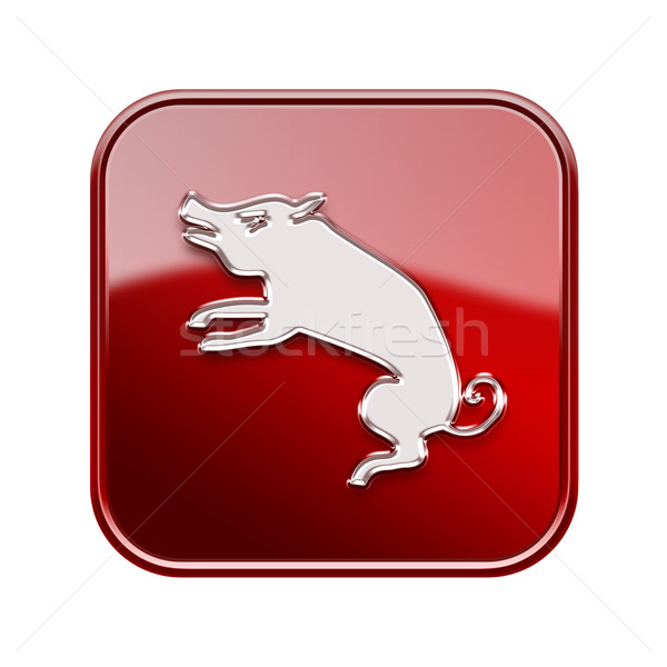 Rat Zodiac icon red, isolated on white background. Stock photo © zeffss