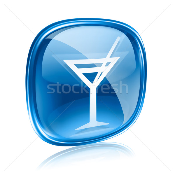wine-glass icon blue glass, isolated on white background. Stock photo © zeffss