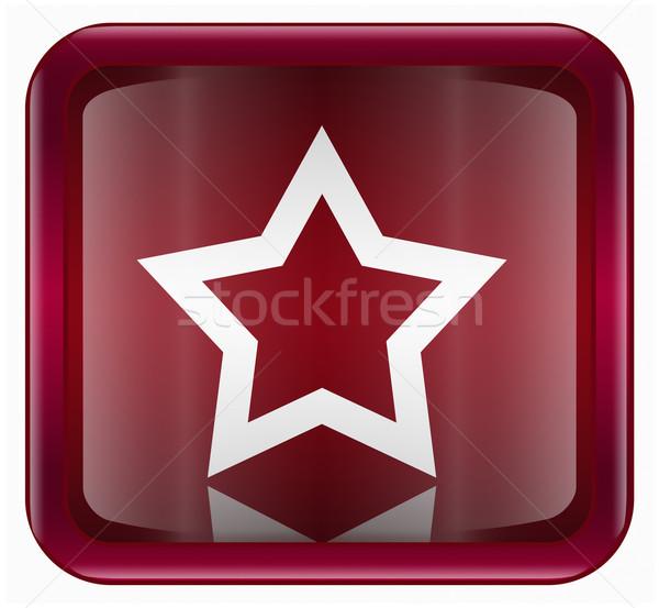 Сток-фото: звездой · икона · темно · красный · изолированный · белый
