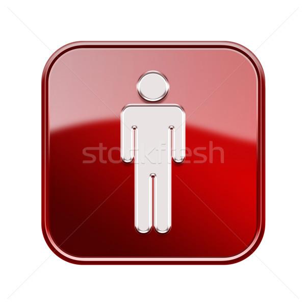 Stock fotó: Férfiak · ikon · piros · izolált · fehér · internet