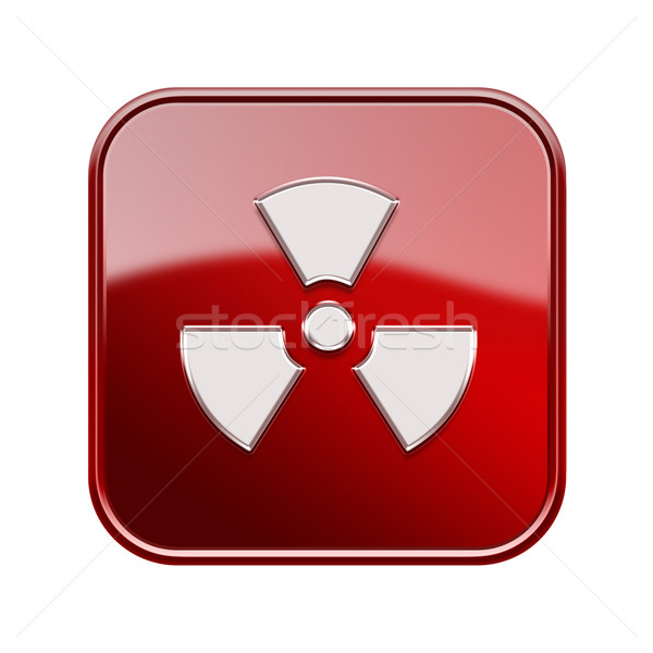 Radioactive icon glossy red, isolated on white background. Stock photo © zeffss