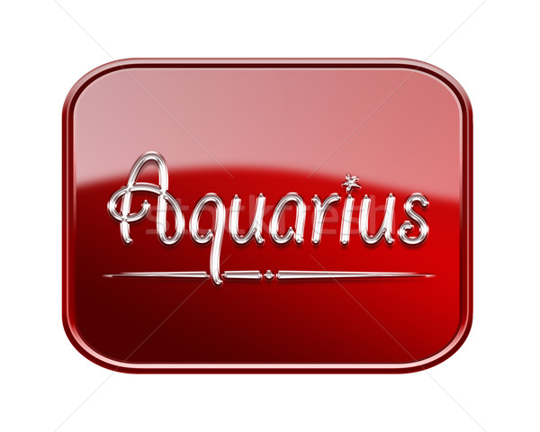 Aquarius zodiac icon red glossy, isolated on white background Stock photo © zeffss