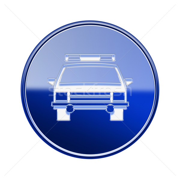 police icon glossy blue, isolated on white background. Stock photo © zeffss
