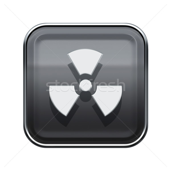 Radioactive icon glossy grey, isolated on white background. Stock photo © zeffss