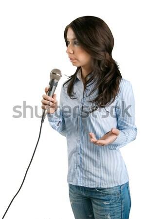 Tv correspondent geïsoleerd witte licht achtergrond Stockfoto © zeffss