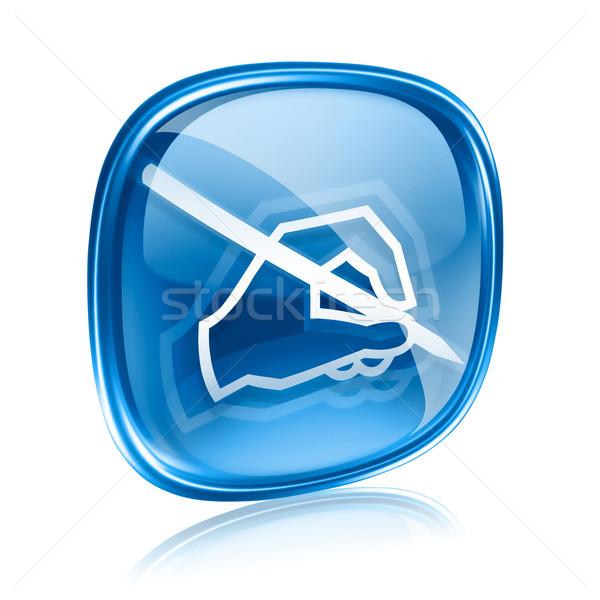 E-mail icon Blauw glas geïsoleerd witte Stockfoto © zeffss