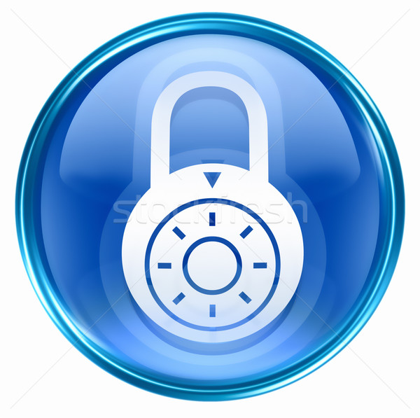 Lock off, icon blue, isolated on white background. Stock photo © zeffss