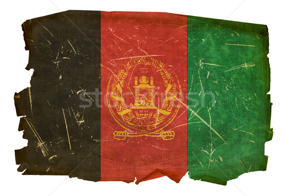 Afghanistan Flag old, isolated on white background. Stock photo © zeffss