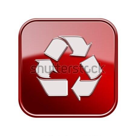 Stock fotó: újrahasznosítás · szimbólum · ikon · piros · izolált · fehér