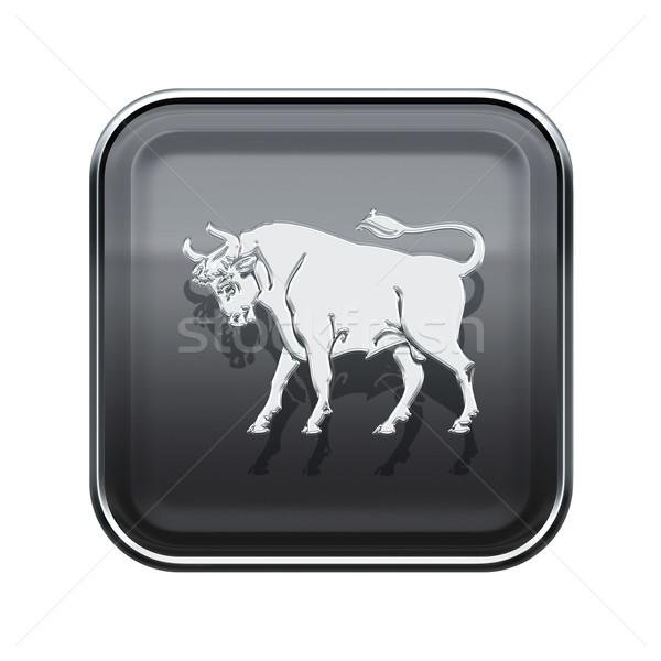 Taurus zodiac icon grey, isolated on white background Stock photo © zeffss
