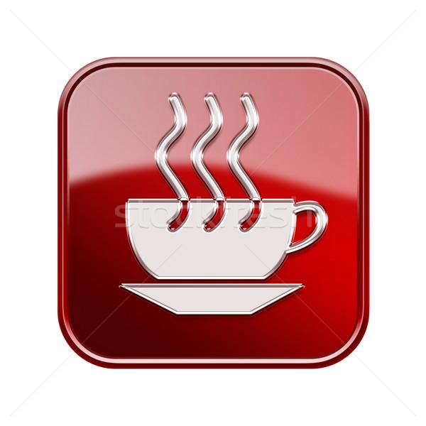 Zdjęcia stock: Filiżankę · kawy · ikona · czerwony · odizolowany · biały · Internetu