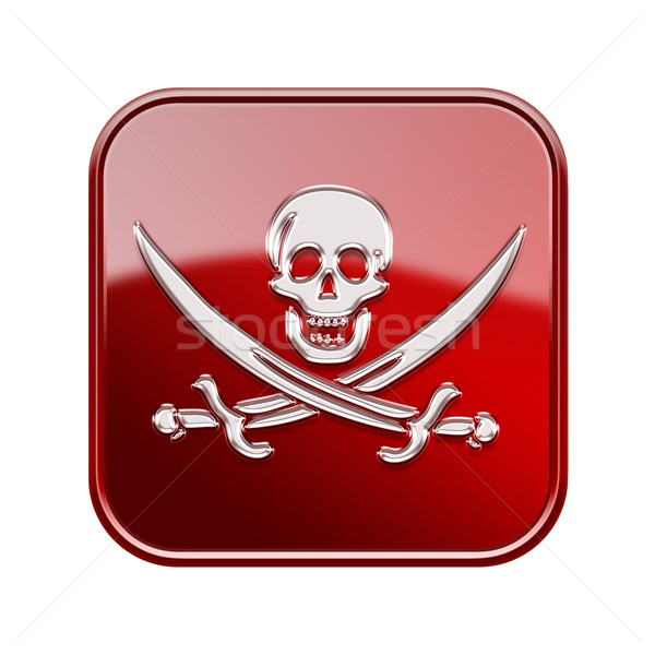 Pirate icon glossy red, isolated on white backround Stock photo © zeffss