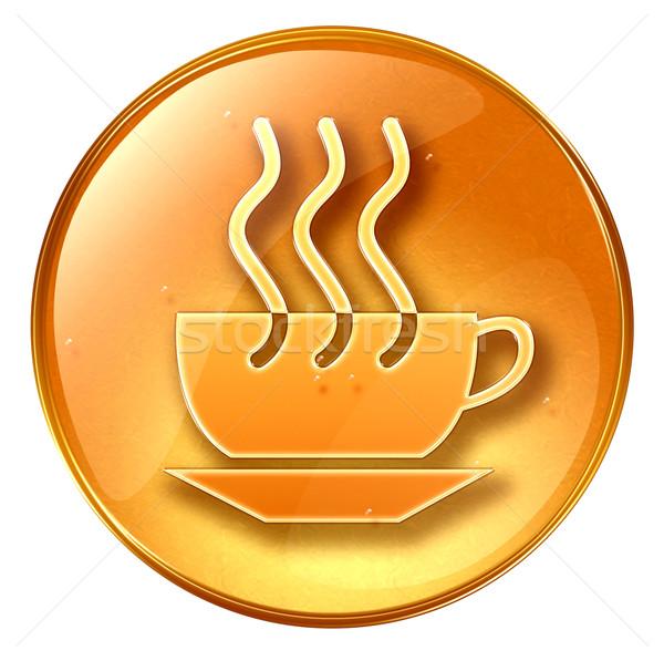 Сток-фото: чашку · кофе · икона · желтый · изолированный · белый · свет