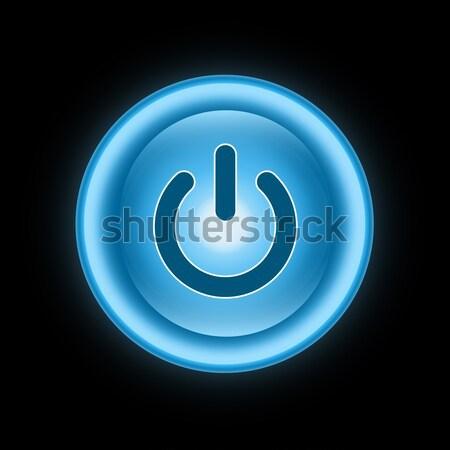 Сток-фото: власти · кнопки · икона · темно · синий · изолированный