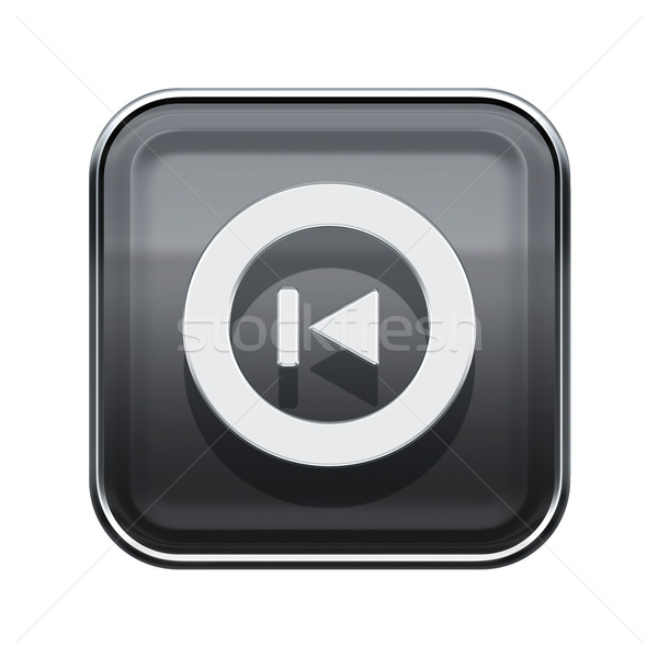 Rewind Back icon glossy grey, isolated on white Stock photo © zeffss