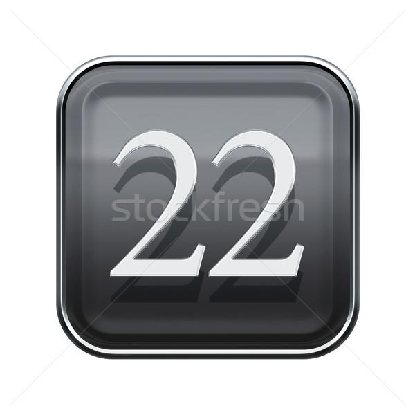 Сток-фото: двадцать · два · икона · серый · изолированный