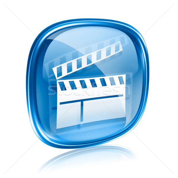 movie clapperboard icon blue glass, isolated on white background Stock photo © zeffss