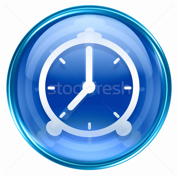 Klok icon Blauw geïsoleerd witte hand Stockfoto © zeffss